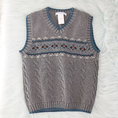 Janie and Jack NEW Boys Gray Blue Fair Isle Knit Pullover Winter Sweater Vest 4T