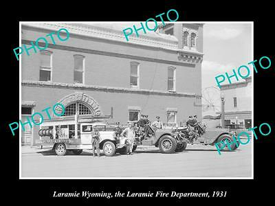 Old Large Historic Photo Of Laramie Wyoming, The Fire Brigade Department 1931