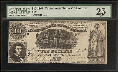 1861 $10 Dollar Bill Confederate States Currency Civil War Note Money T-30 Pmg