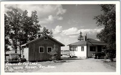 RPPC  RAY, Minnesota  MN    ESSLINGERS RESORT Cabins by the Lake 1961  Postcard