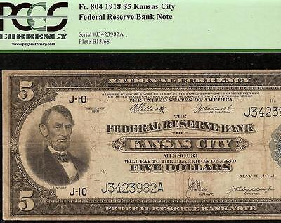 Large 1918 $5 Five Dollar Bill Kansas City Frbn Fed Res Bank Note Currency Pcgs