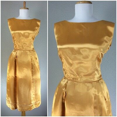 VINTAGE 1940s DRESS GOLD WWII WIGGLE HOURGLASS COCKTAIL PARTY S