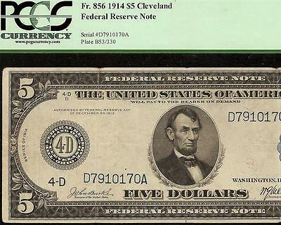 Large 1914 $5 Dollar Bill Cleveland Fed Note Big Currency Paper Money F 856 Pcgs