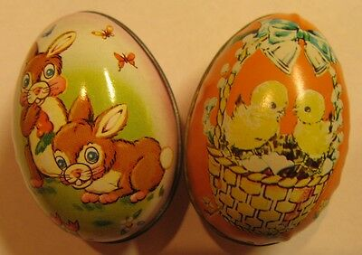 2 Vintage Tin Easter Egg Containers made in England and Hong Kong