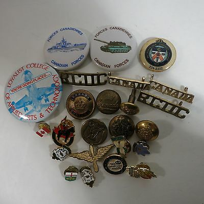Lot 24 Various Military Items Canada Buttons Pins Customs etc.