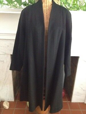 Vintage Fabulous 50's Black Wool Swing Coat Exquisite Lining M