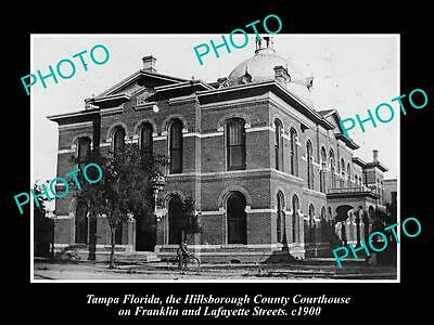 OLD LARGE HISTORIC PHOTO OF TAMPA FLORIDA, THE HILLSBOROUGH COURT HOUSE c1900