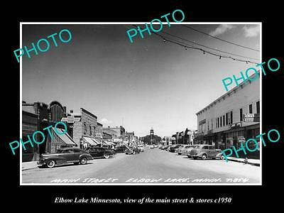 OLD LARGE HISTORIC PHOTO OF ELBOW LAKE MINNESOTA, THE MAIN STREET & STORES c1950