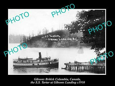OLD LARGE HISTORIC PHOTO OF GIBSONS BC CANADA, THE SS TARTAR AT THE DOCK c1910