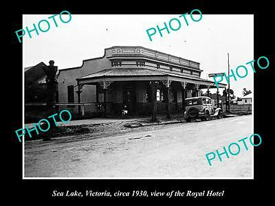 OLD LARGE HISTORIC PHOTO OF  SEA LAKE VICTORIA, VIEW OF THE ROYAL HOTEL c1930