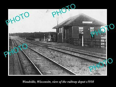 Old Large Historic Photo Of Woodville Wisconsin, The Railroad Depot Station 1910