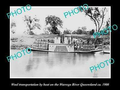 OLD LARGE HISTORIC PHOTO OF THE WOOL BARGE IN THE WARREGO RIVER, QLD c1900