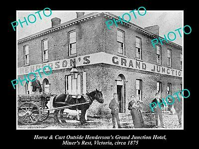 Old Large Historical Photo Of Miners Rest Victoria, View Of Henderson Hotel 1875