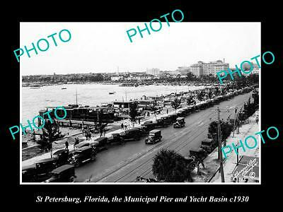 OLD LARGE HISTORIC PHOTO OF St PETERSBURG FLORIDA, THE MUNICIPAL PIER c1930