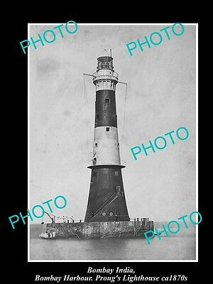 OLD LARGE HISTORIC PHOTO OF BOMBAY INDIA, VIEW OF PRONGS LIGHTHOUSE c1870