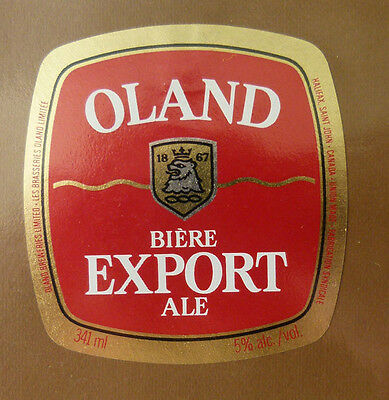Vintage Canadian Beer Label - Oland Brewery, Export Ale 341 Ml