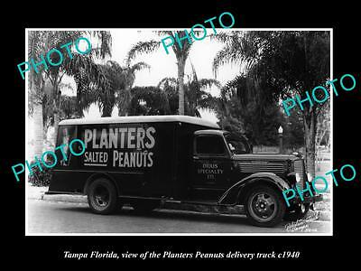 OLD LARGE HISTORIC PHOTO OF TAMPA FLORIDA, THE PLANTER PEANUTS TRUCK c1940