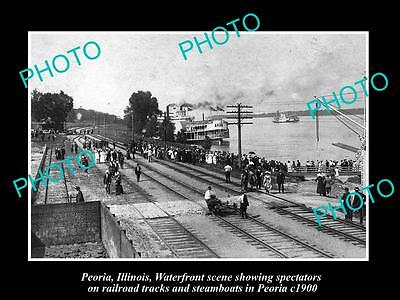 Old Large Historic Photo Of Peoria Illinois, View Of Waterfront & Steamboat 1900