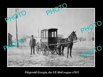 OLD LARGE HISTORIC PHOTO OF FITZGERALD GEORGIA, THE US MAIL HORSE WAGON c1915