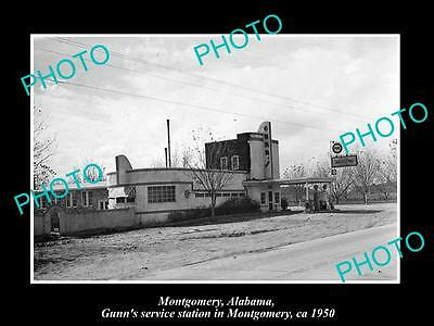 OLD LARGE HISTORIC PHOTO OF MONTGOMERY ALABAMA, THE GUNNS SERVICE STATION c1950
