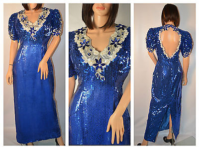 Vintage Stunning Blue Heavily Beaded Sequined Dress Gown Long Medium / Large