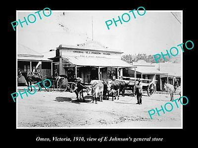 Old Large Historic Photo Of Omeo Victoria, View Of Johnsons General Store 1910
