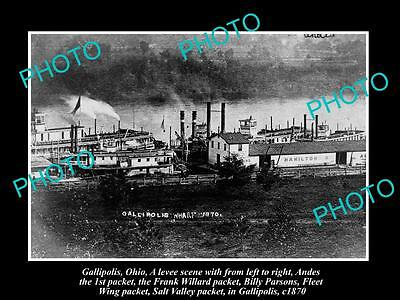 OLD LARGE HISTORIC PHOTO OF GALLIPOLIS OHIO, THE STEAMBOATS AT THE DOCK c1870