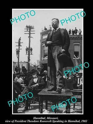 OLD LARGE HISTORIC PHOTO OF HANNIBAL MISSOURI, PRESIDENT ROOSEVELT IN TOWN c1903