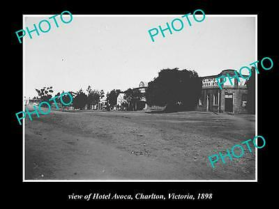 Old Large Historical Photo Of Charlton Victoria, View Of Hotel Avoca 1898