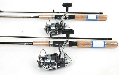 2 Shimano Sienna 2500 Spin Fishing Reels, 6ft Rods NEW