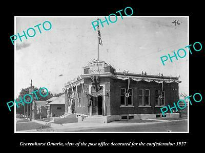 Old Large Historic Photo Of Gravenhurst Ontario Canada, The Post Office 1927