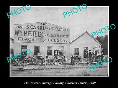 Old Large Historic Photo Of Charters Towers Qld The Towers Carriage Factory 1909