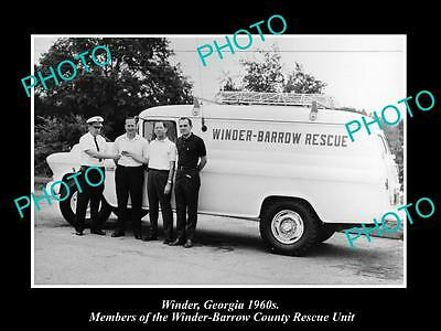 OLD LARGE HISTORIC PHOTO OF WINDER GEORGIA, BARROW COUNTY RESCUE UNIT c1960s