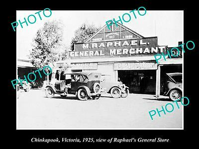OLD LARGE HISTORIC PHOTO OF CHINKAPOOK VIC, VIEW OF RAPHAELS GENERAL STORE c1925