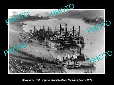 OLD LARGE HISTORIC PHOTO OF WHEELING WEST VIRGINIA, STEAMBOATS AT DOCK c1890