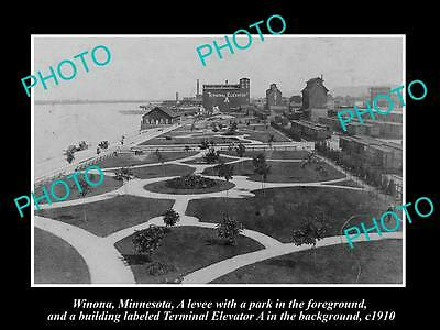 OLD LARGE HISTORIC PHOTO OF WINONA MINNESOTA, THE TOWN & WATERFRONT c1910