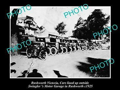 Old Large Historical Photo Of Rushworth Vic, View Of Swinglers Motor Garage 1925