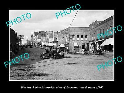 OLD LARGE HISTORIC PHOTO OF WOODSTOCK NEW BRUNSWICK, THE MAIN ST & STORES c1900