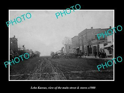OLD LARGE HISTORIC PHOTO OF LEBO KANSAS, VIEW OF THE MAIN STREET & STORES c1900