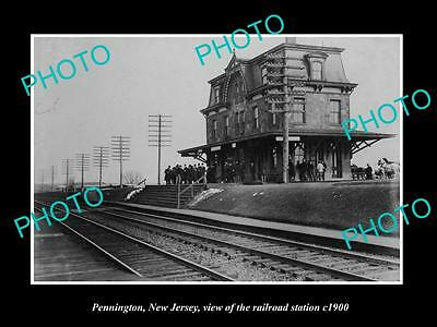 OLD LARGE HISTORIC PHOTO OF PENNINGTON NEW JERSEY, THE RAILROAD STATION c1900