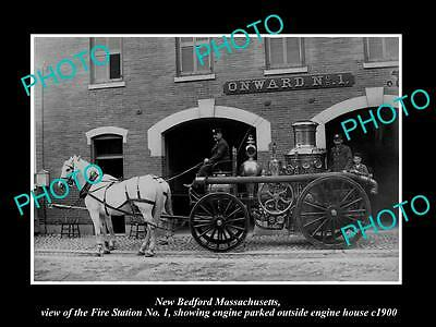 OLD LARGE HISTORIC PHOTO OF NEW BEDFORD MASSACHUSETTS, THE FIRE STATION c1900