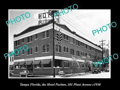 OLD LARGE HISTORIC PHOTO OF TAMPA FLORIDA, VIEW OF THE HOTEL PURITAN c1950