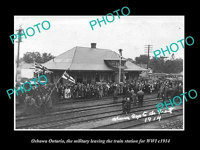 Old Large Historic Photo Of Oshawa Ontario Canada, Soldiers At Rail Station 1914