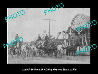OLD LARGE HISTORIC PHOTO OF LYFORD INDIANA, THE GILFOY GROCERY STORE c1900