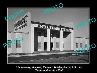 OLD LARGE HISTORIC PHOTO OF MONTGOMERY ALABAMA, THE FOREMOST DAIRY FACTORY c1960