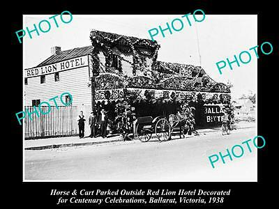 OLD LARGE HISTORICAL PHOTO OF BALLARAT VICTORIA, VIEW OF RED LION HOTEL c1938