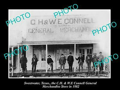 OLD LARGE HISTORIC PHOTO OF SWEETWATER TEXAS, THE CONNELL GENERAL STORE c1882