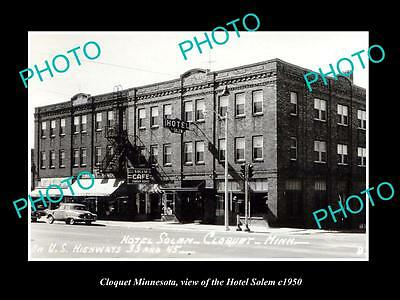 OLD LARGE HISTORIC PHOTO OF CLOQUET MINNESOTA, VIEW OF THE HOTEL SOLEM c1950