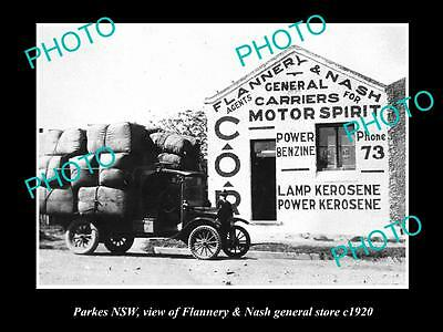 OLD LARGE HISTORICAL PHOTO OF PARKES NSW, VIEW OF FLANNERY & NASH STORE c1920