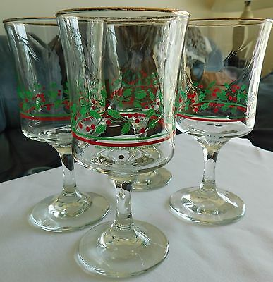 Set of 4 Vintage Arby's 85-86 Christmas Holly Berry Water Wine Goblets Stemware